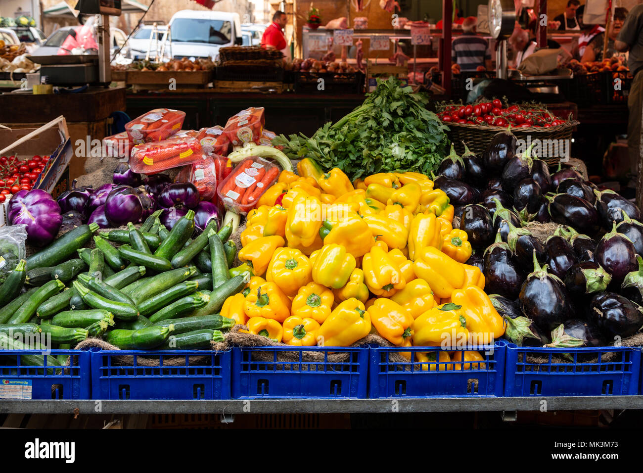 Fruits and vegetables in the streets of famous Ballarò market in Palermo, Sicily - Stock Image