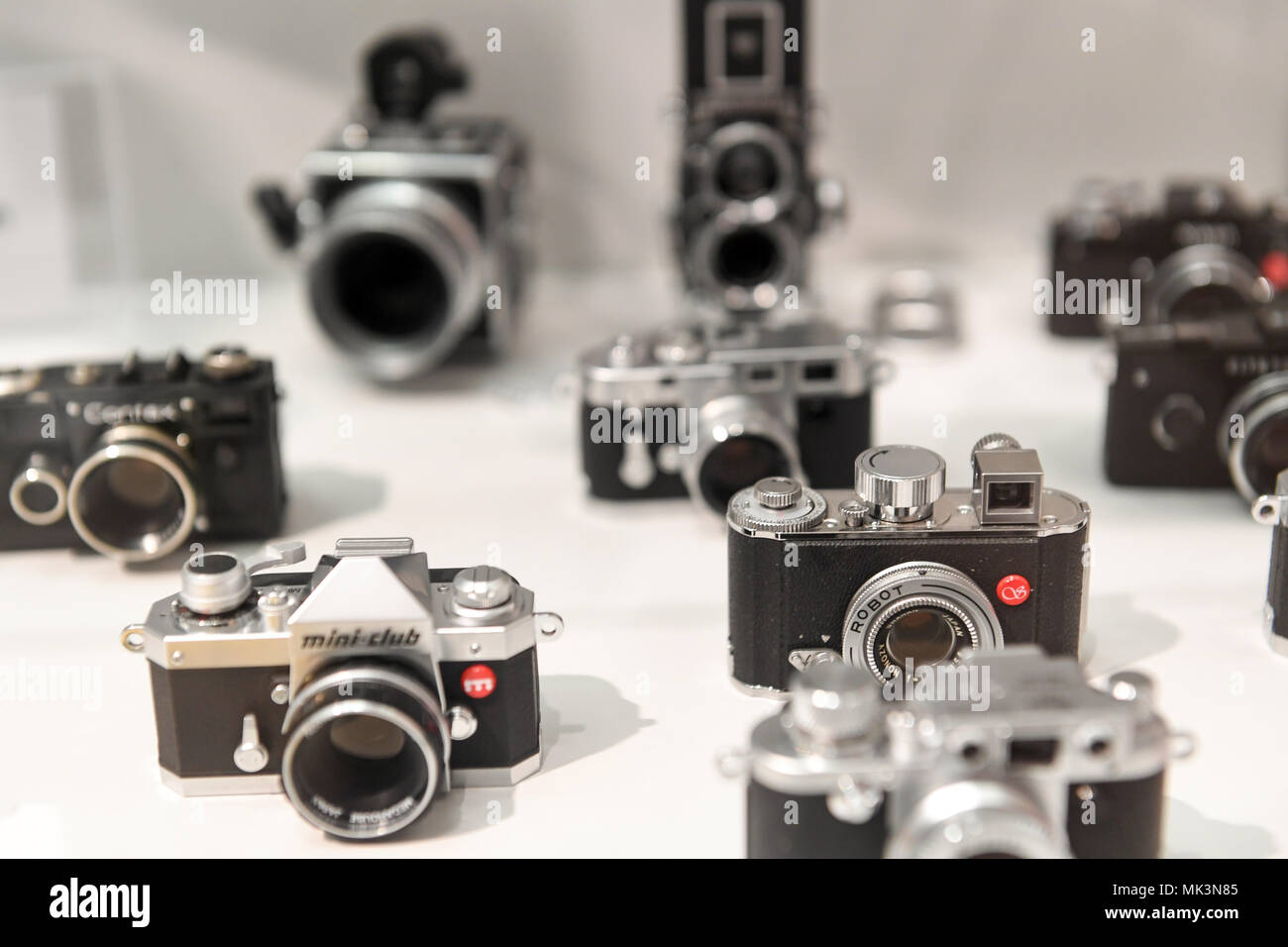 Antique cameras,Hessenpark Open Air Museum Stock Photo