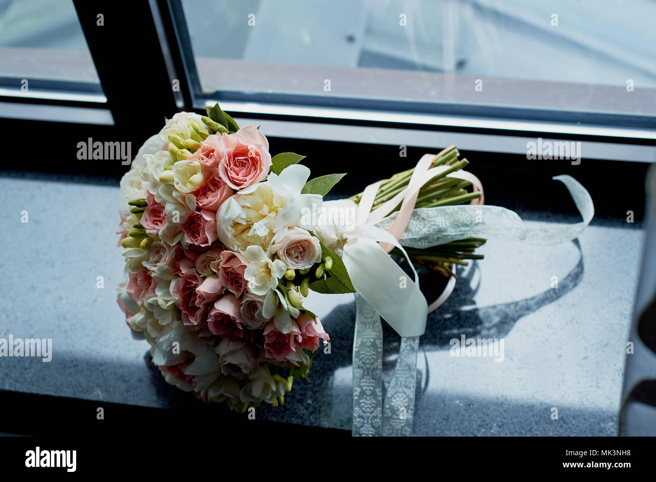 bouquet of the bride in pink.Wedding floristry. - Stock Image