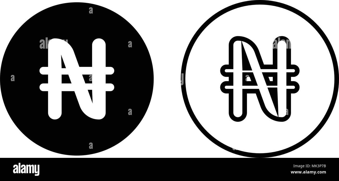 Nigeria currency symbol icon, isolated on white background - Stock Image