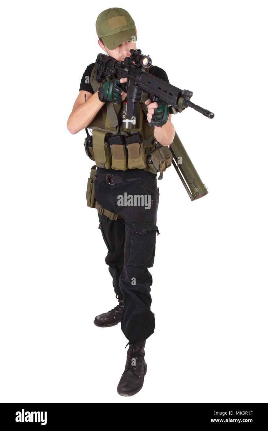 Private military contractor - rifleman with assault rifle isolated on white Stock Photo