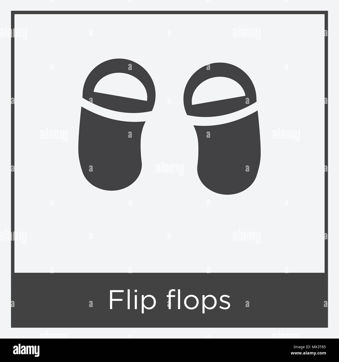 Flip flops icon isolated on white background with gray frame, sign ...