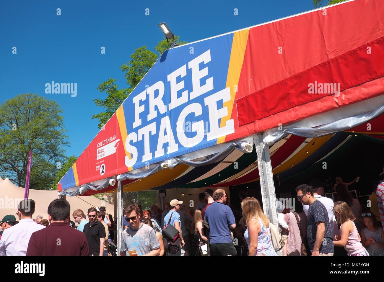 Cheltenham Jazz Festival the Free Stage in the Montpellier Gardens park UK - Stock Image