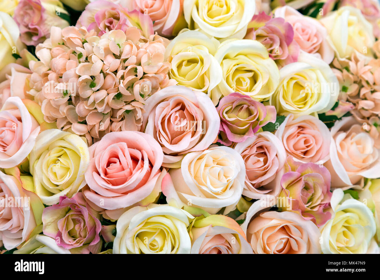 Background Of Light Pastel Flowers And Roses In Pink And Yellow