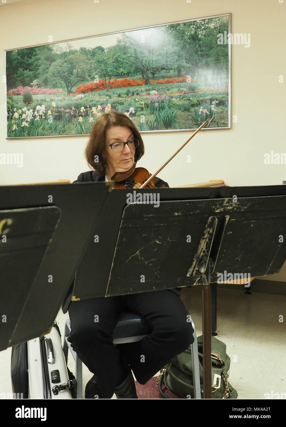 Violinist with the South Carolina Philharmonic, Mary Lee Kinosian, intently serenades listeners at the Dorn VA Medical Center, Nov. 7. - Stock Image