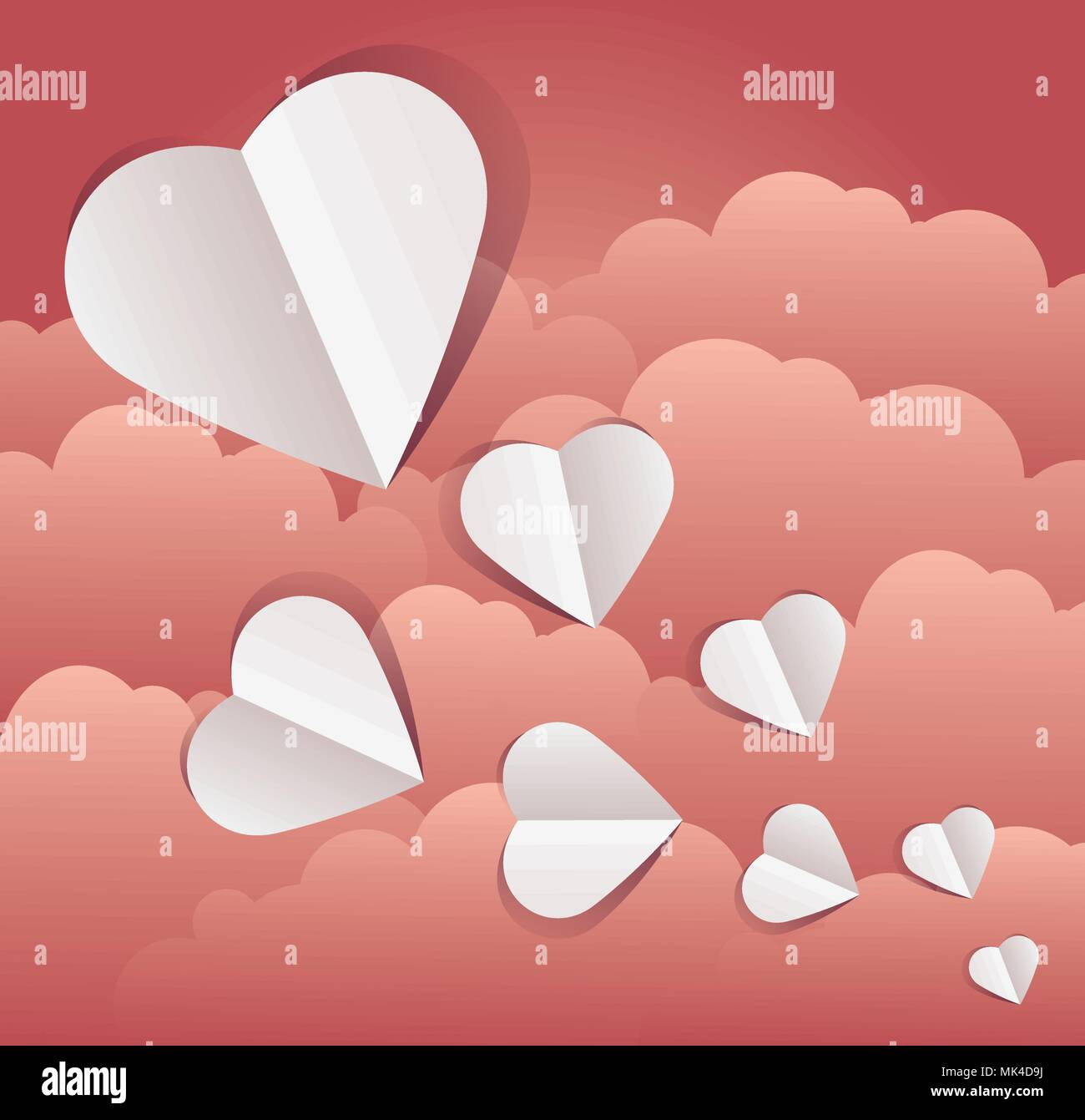Vector Illustration Of Paper Cut Out Hearts With Clouds Copy Space Art Design