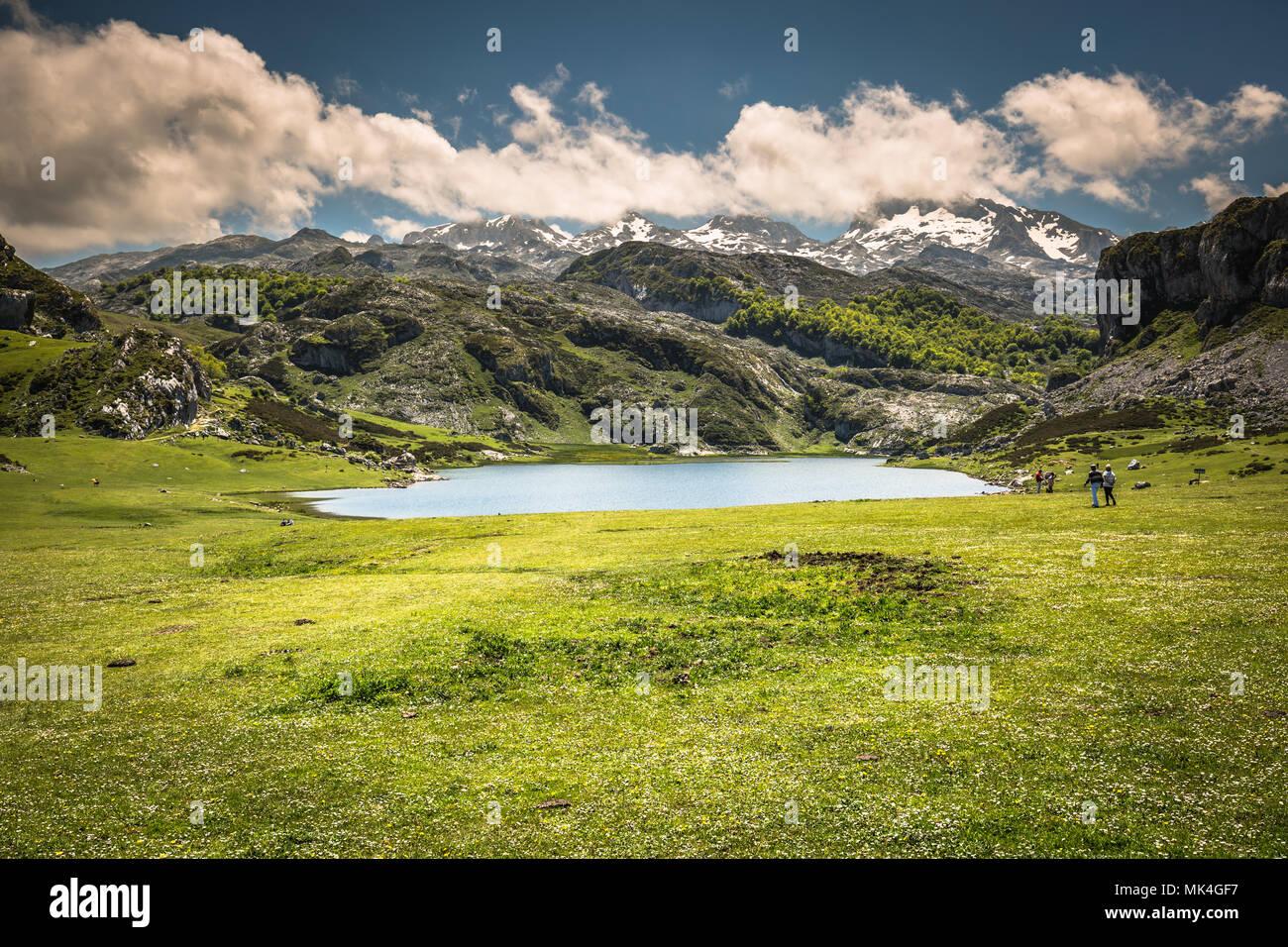 Lake Ercina. Cantabrian. Covadonga. Asturias. Spain. - Stock Image