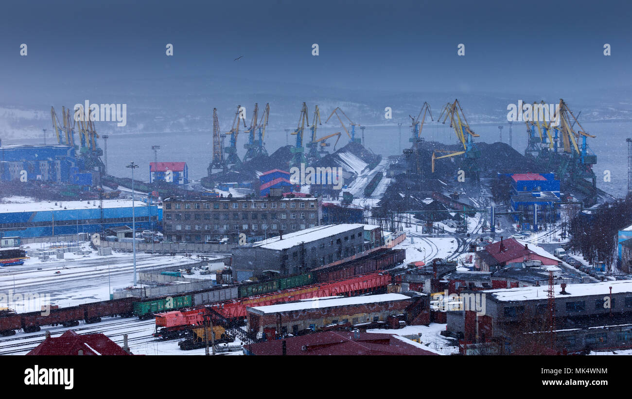 Murmansk, RUSSIA - March 31 2014,  panoramic view on coal terminal, Murmansk, Russia - Stock Image