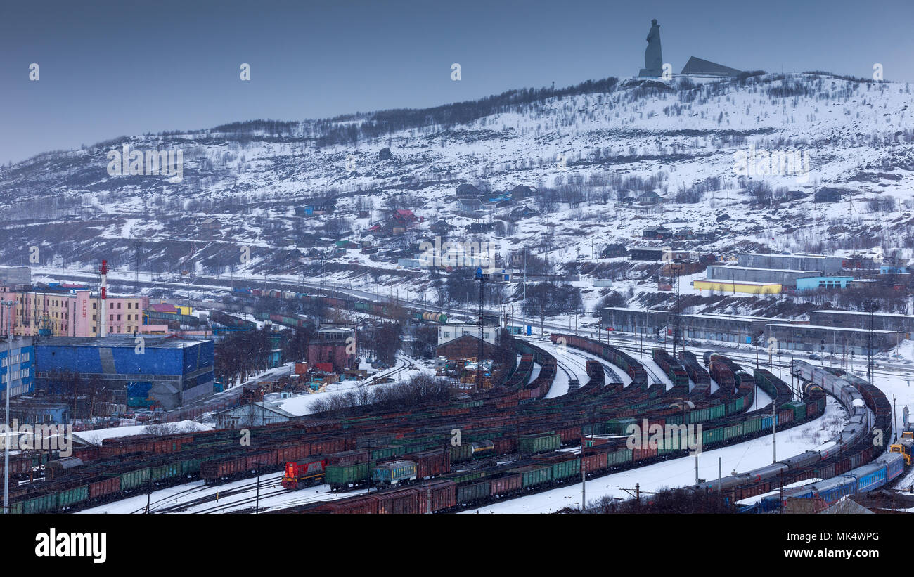 Murmansk, RUSSIA - March 31 2014,  panoramic view on railway terminal, Murmansk, Russia - Stock Image