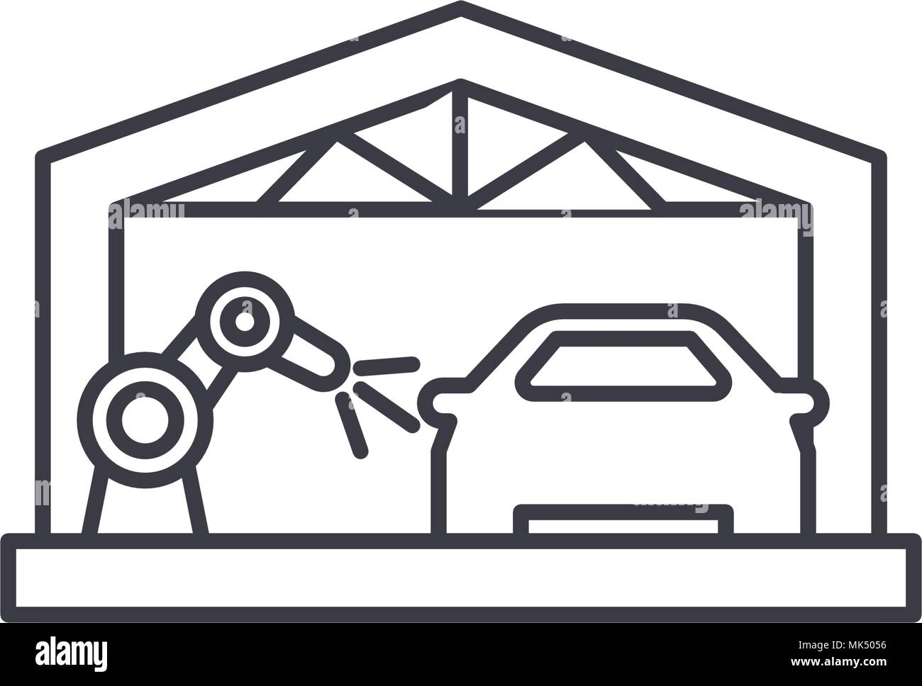 car assembly line vector line icon, sign, illustration on background, editable strokes Stock Vector