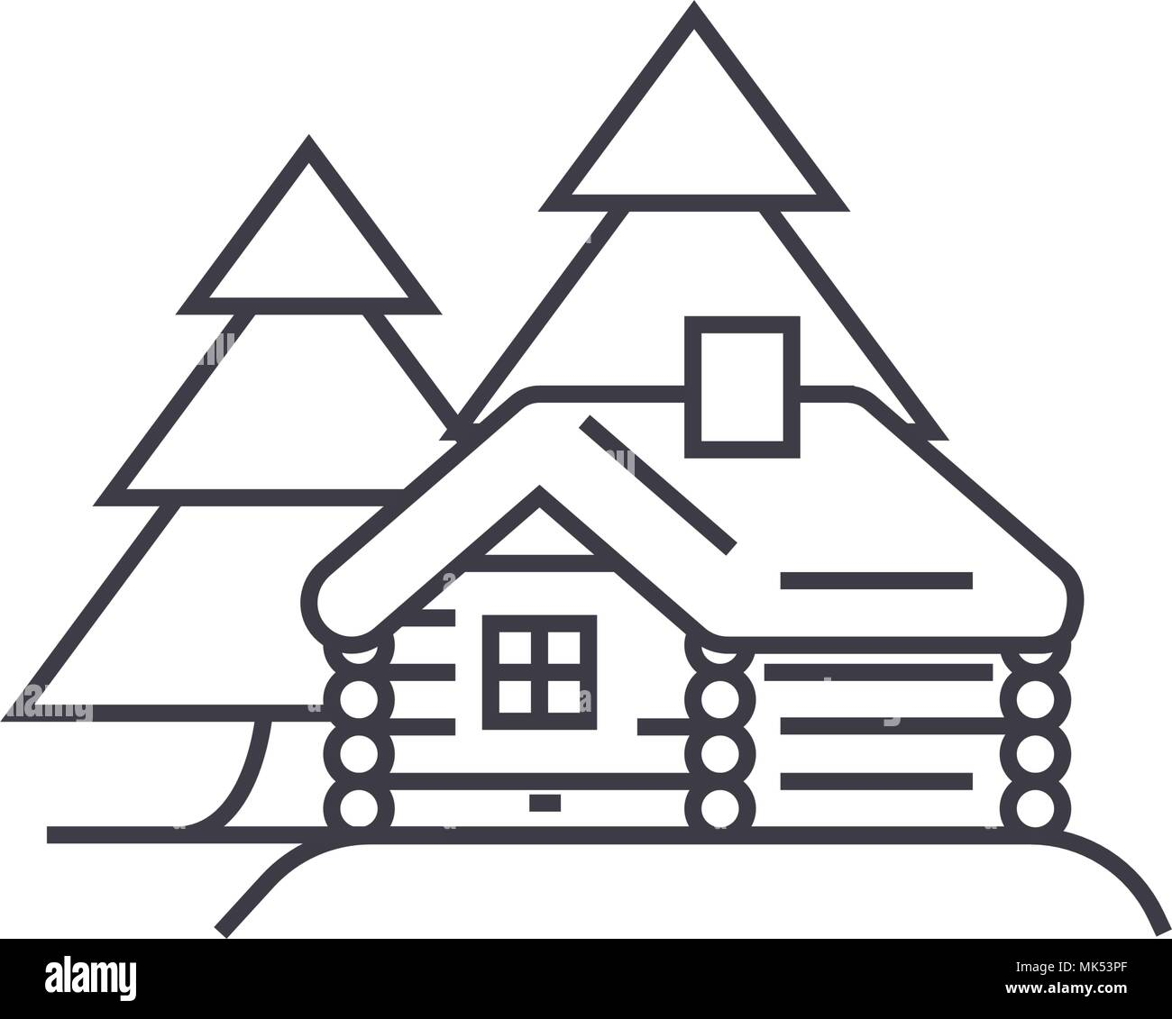 log cabin vector line icon, sign, illustration on background, editable strokes - Stock Vector