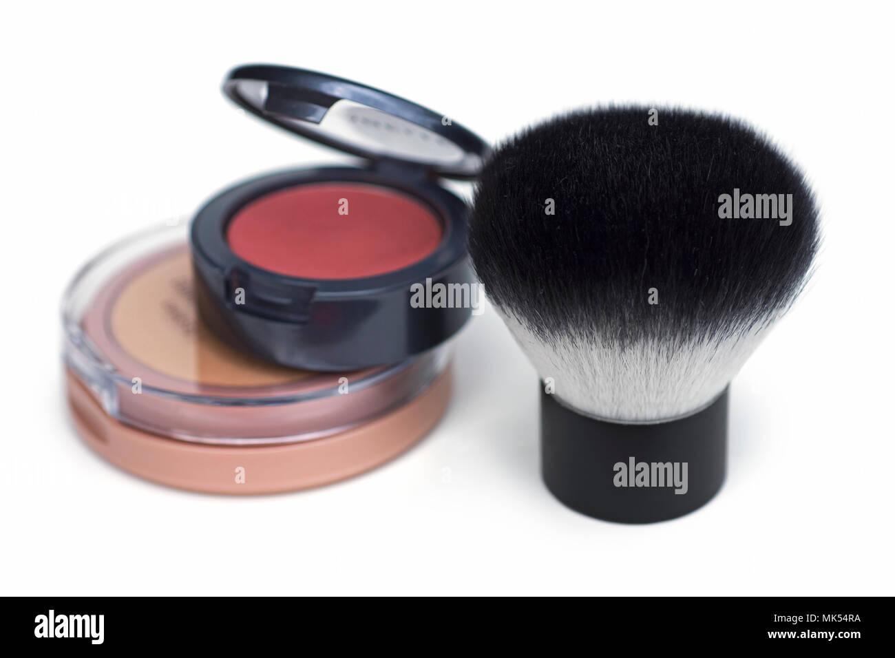 Kabuki Brush, Cosmetics, Powder, Makeup Cosmetic Compact - Stock Image