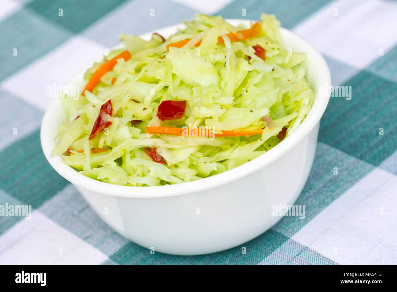 Coleslaw, white bowl with Coleslaw - Stock Image