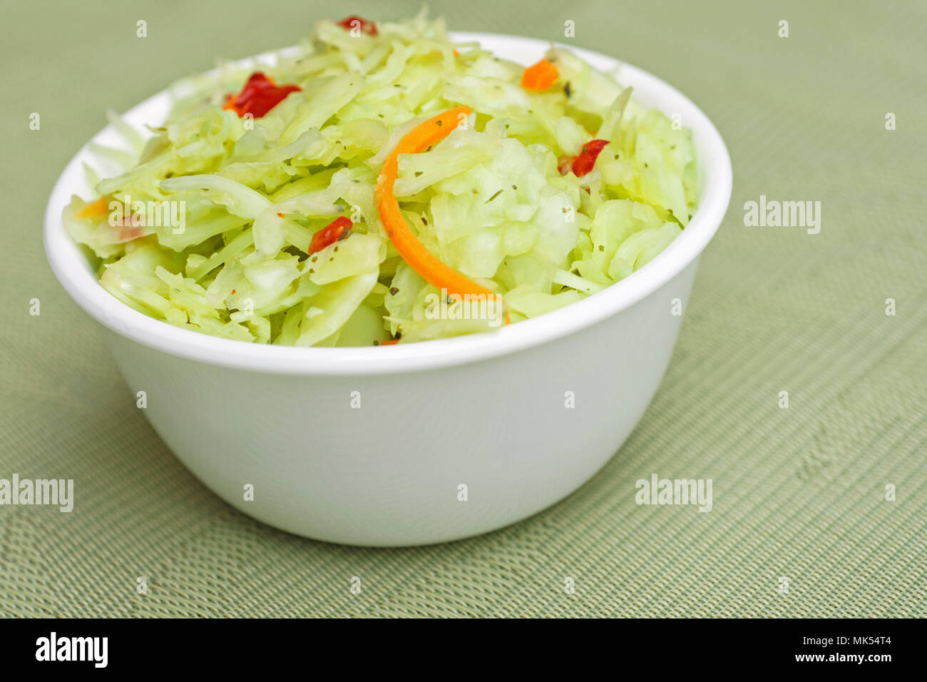 Coleslaw, white bowl with Coleslaw Salad - Stock Image