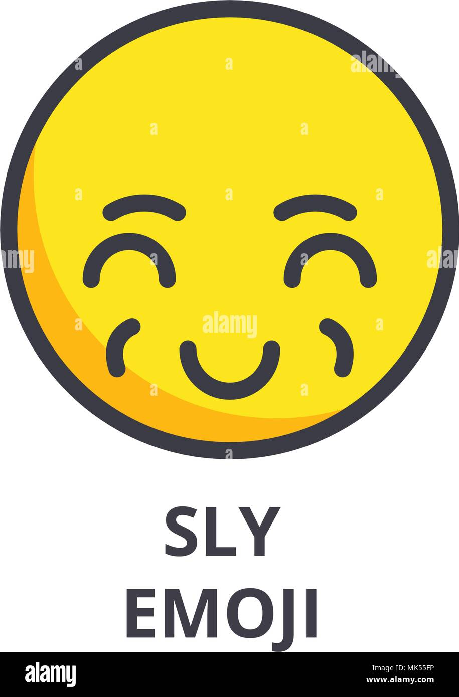 sly emoji vector line icon, sign, illustration on background, editable strokes - Stock Vector