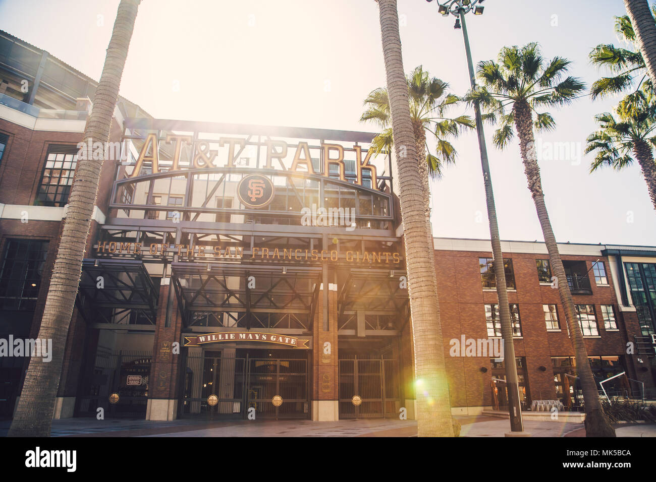 Panorama view of historic AT&T Park baseball park, home of the San Francisco Giants professional baseball franchise, on a sunny day, California, USA - Stock Image