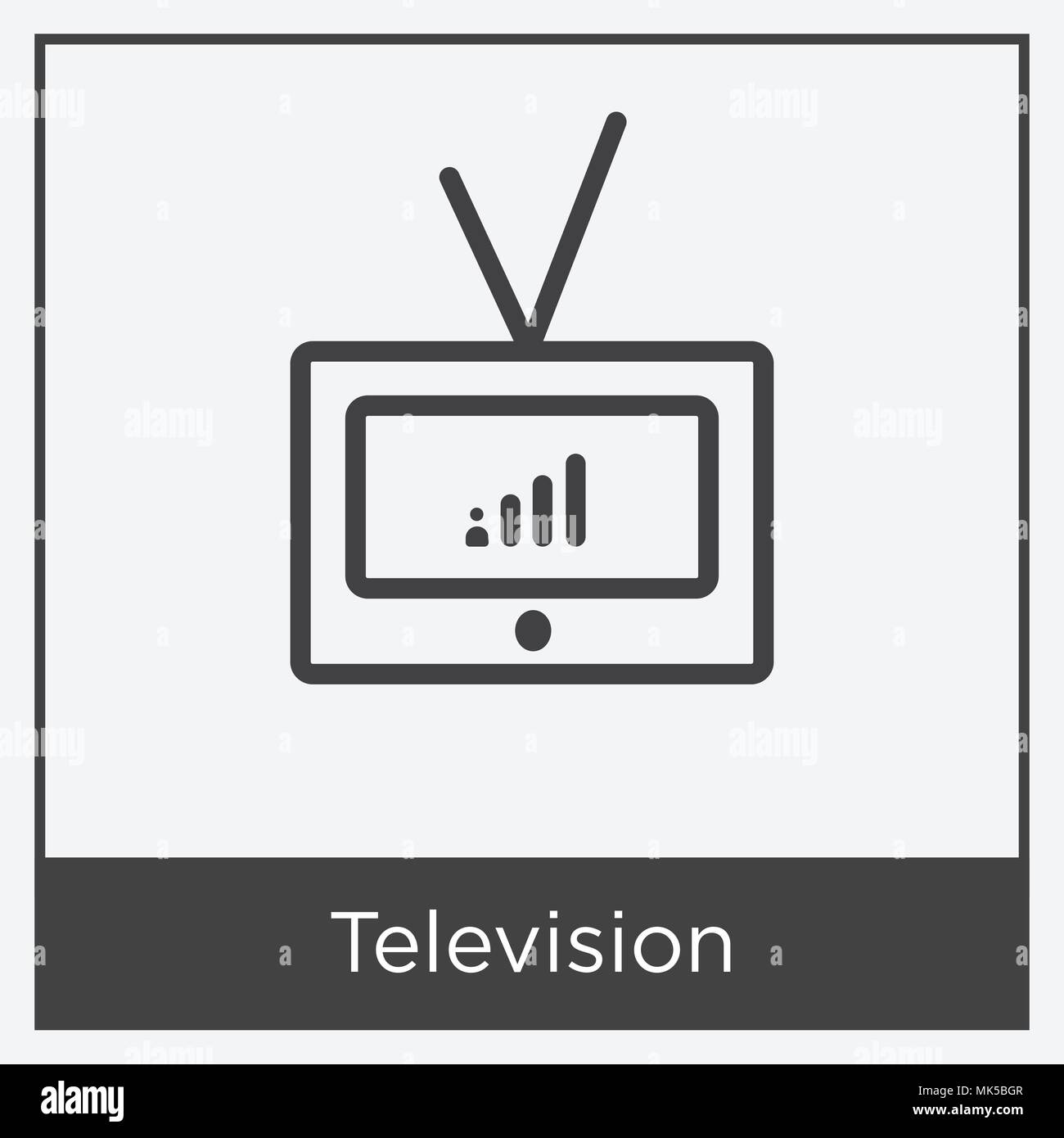 Television icon isolated on white background with gray frame, sign and symbol - Stock Image