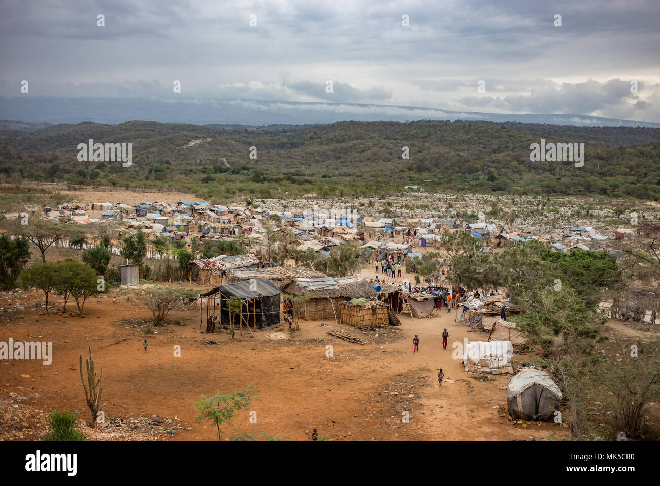 Refugee border camp in Haiti - Stock Image