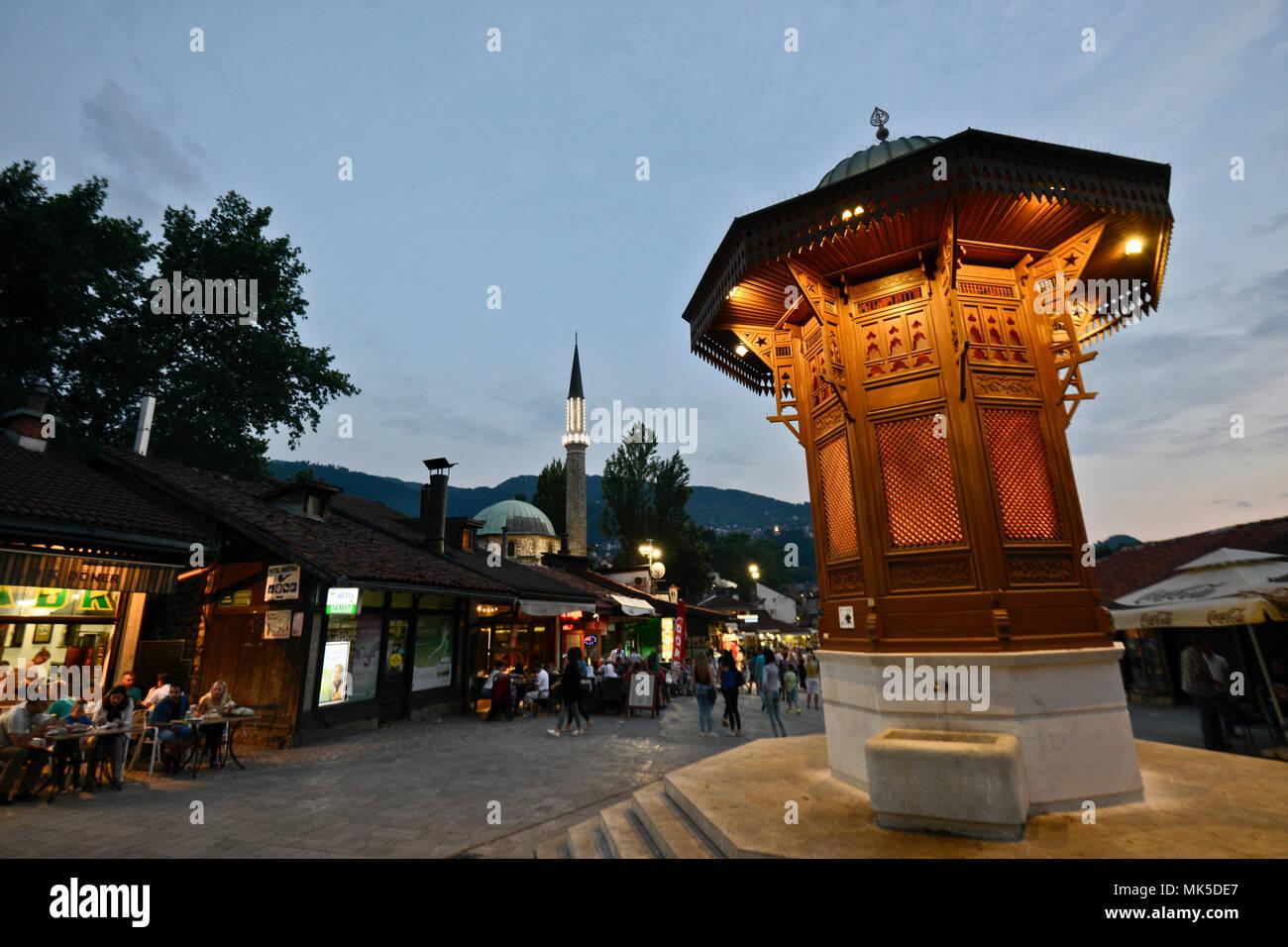 Sebilj Brunnen (Fountain), Sarajevo old bazaar, Bascarsija, Bosnia - Stock Image