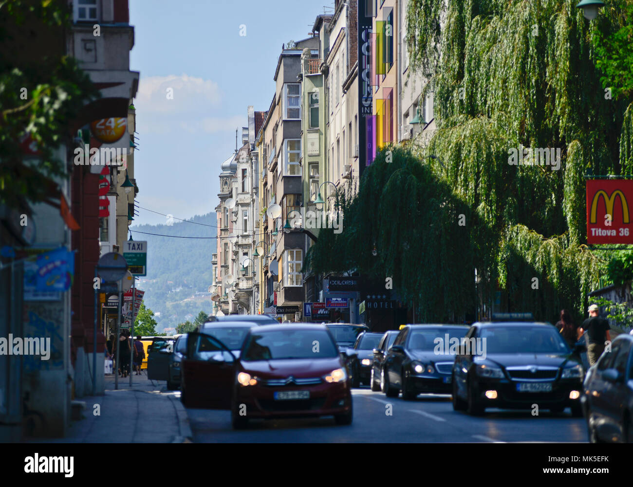 Traffic in Sarajevo, Bosnia - Stock Image