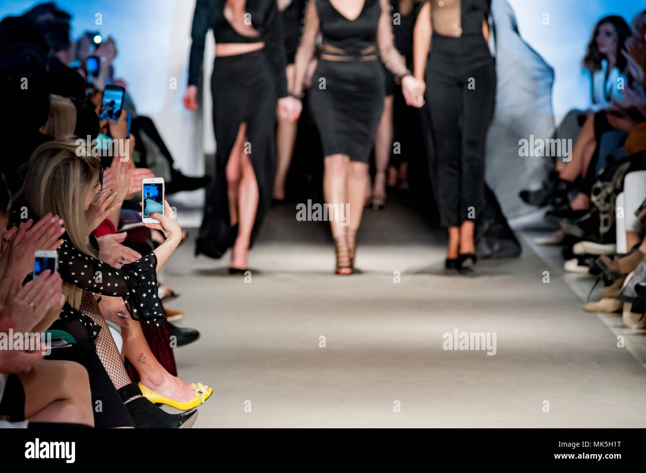 female models at finale of the fashion show - Stock Image