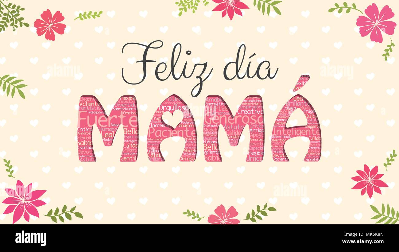 Feliz dia mama happy day mom in spanish language greeting card feliz dia mama happy day mom in spanish language greeting card word mom formed by word cloud of different colors on yellow background m4hsunfo