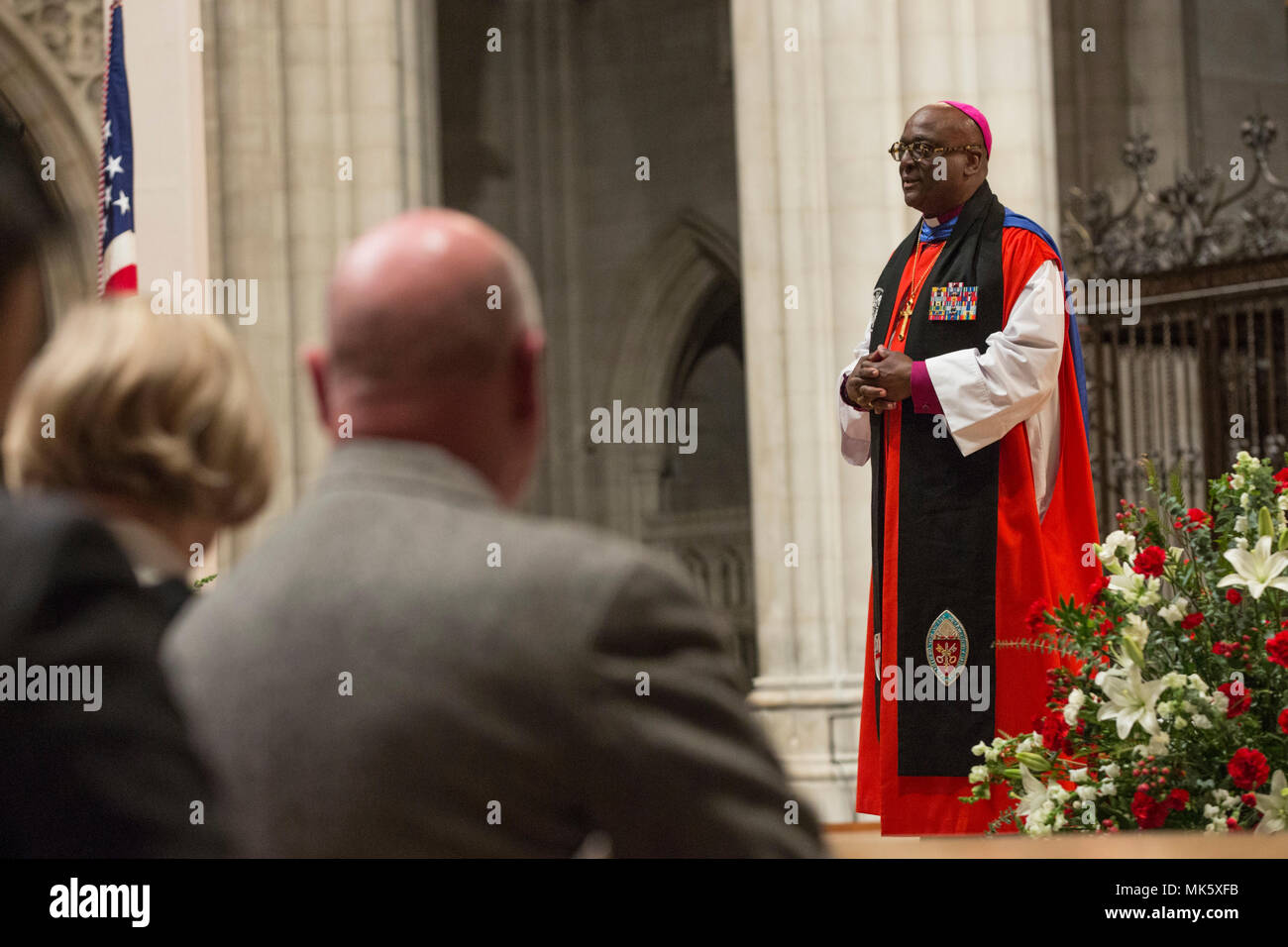 The Right Reverend Carl W. Wright, bishop suffragan for Armed Service and Federal Ministries, gives remarks during the Marine Corps Worship Service at the Washington National Cathedral,Washington, D.C., Nov. 12, 2017. The worship service honored the Marines Corps' 242nd anniversary. (U.S. Marine Corps photo by Lance Cpl. Alex A. Quiles) - Stock Image