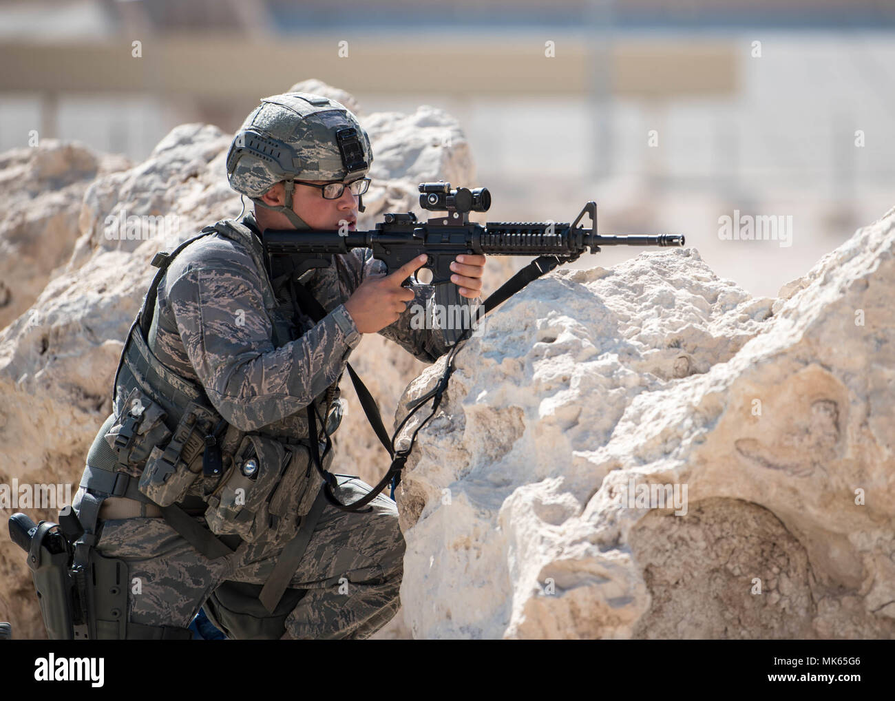 379th Expeditionary Stock Photos Images Mk Wiring Devices Qatar A Us Air Force Quick Reaction Member Assigned To The Security Forces Squadron