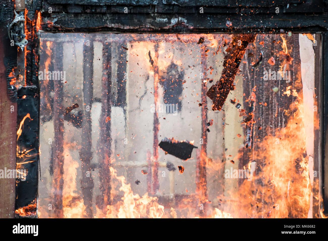 Live Fire Training North Mason Fire Deparement, Washington State, USA Stock Photo