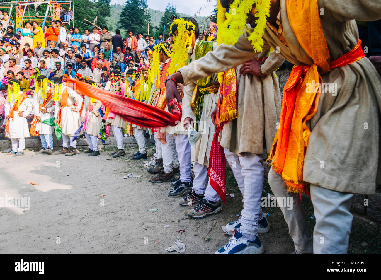 Nagar, Himachal Pradesh, India : During the Naggar Mela festival  rajput dancers with handkerchiefs in their hands dance in honor of the local deity T - Stock Image