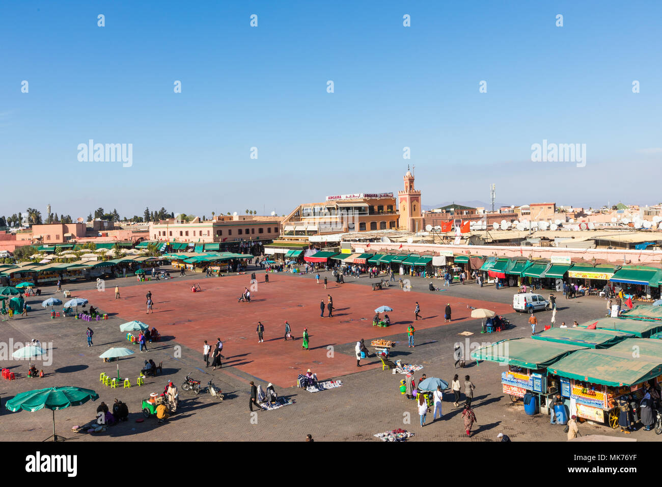 MARRAKESH, MOROCCO - DECEMBER 17, 2017: Jamaa el Fna market square is a famous square and market place in Marrakesh's medina quarter. Stock Photo