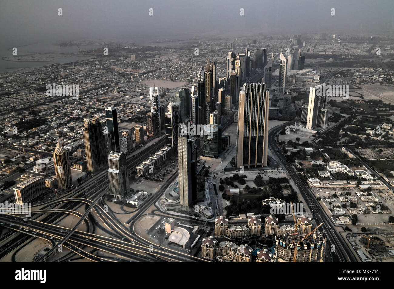 Panorama sunset view to Dubai skyscrapers in UAE - Stock Image