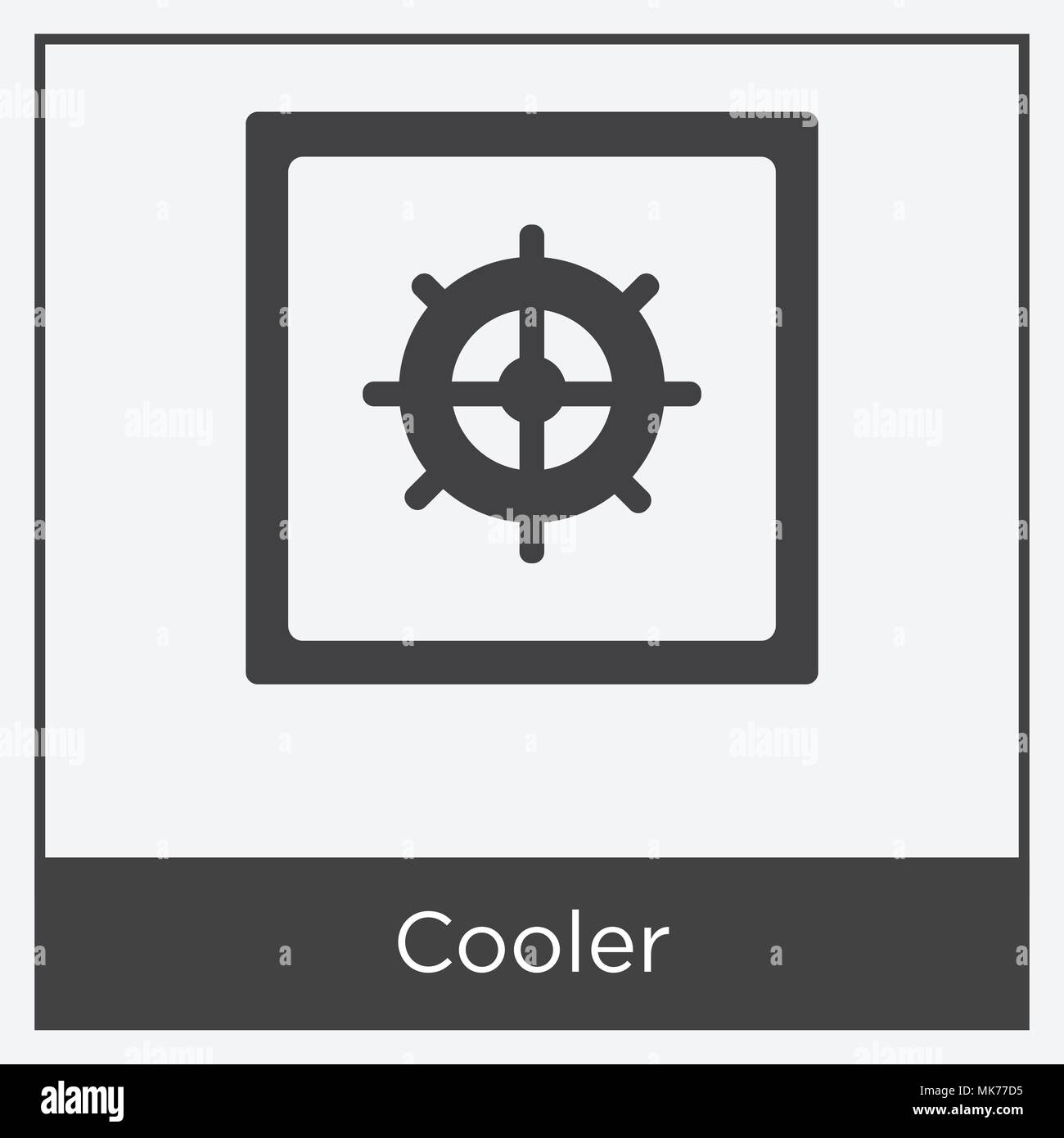 Cooler icon isolated on white background with gray frame, sign and ...