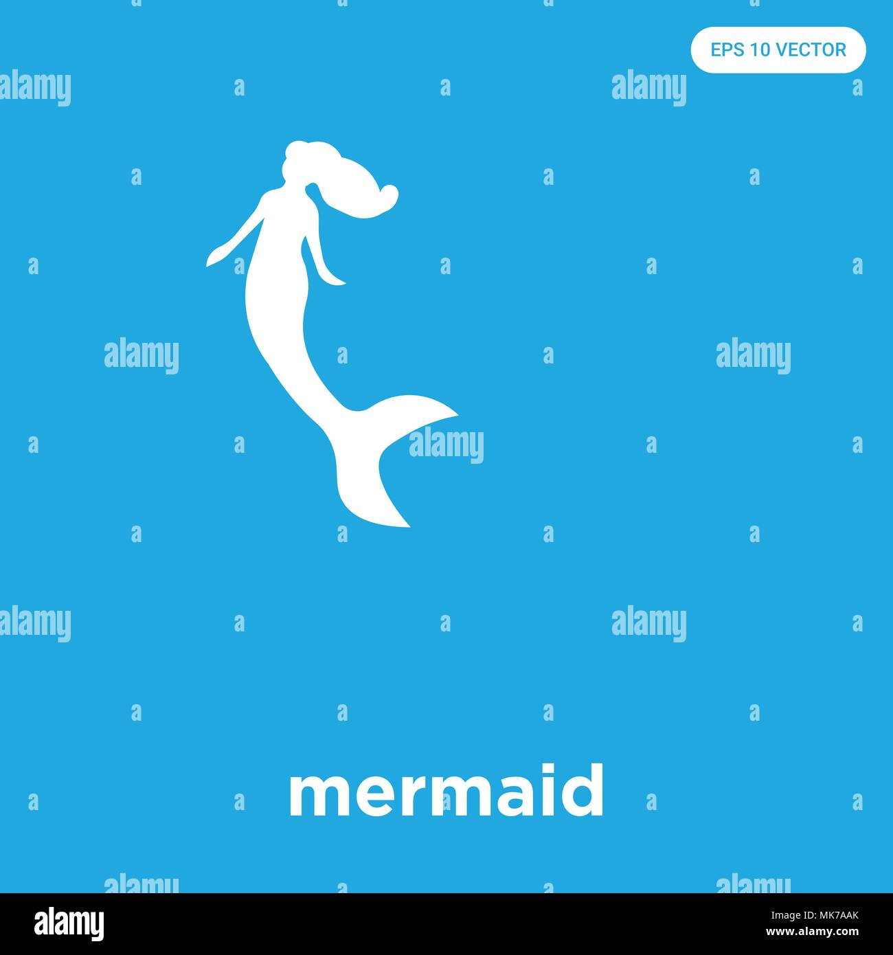 Mermaid Vector Icon Isolated On Blue Background Sign And Symbol