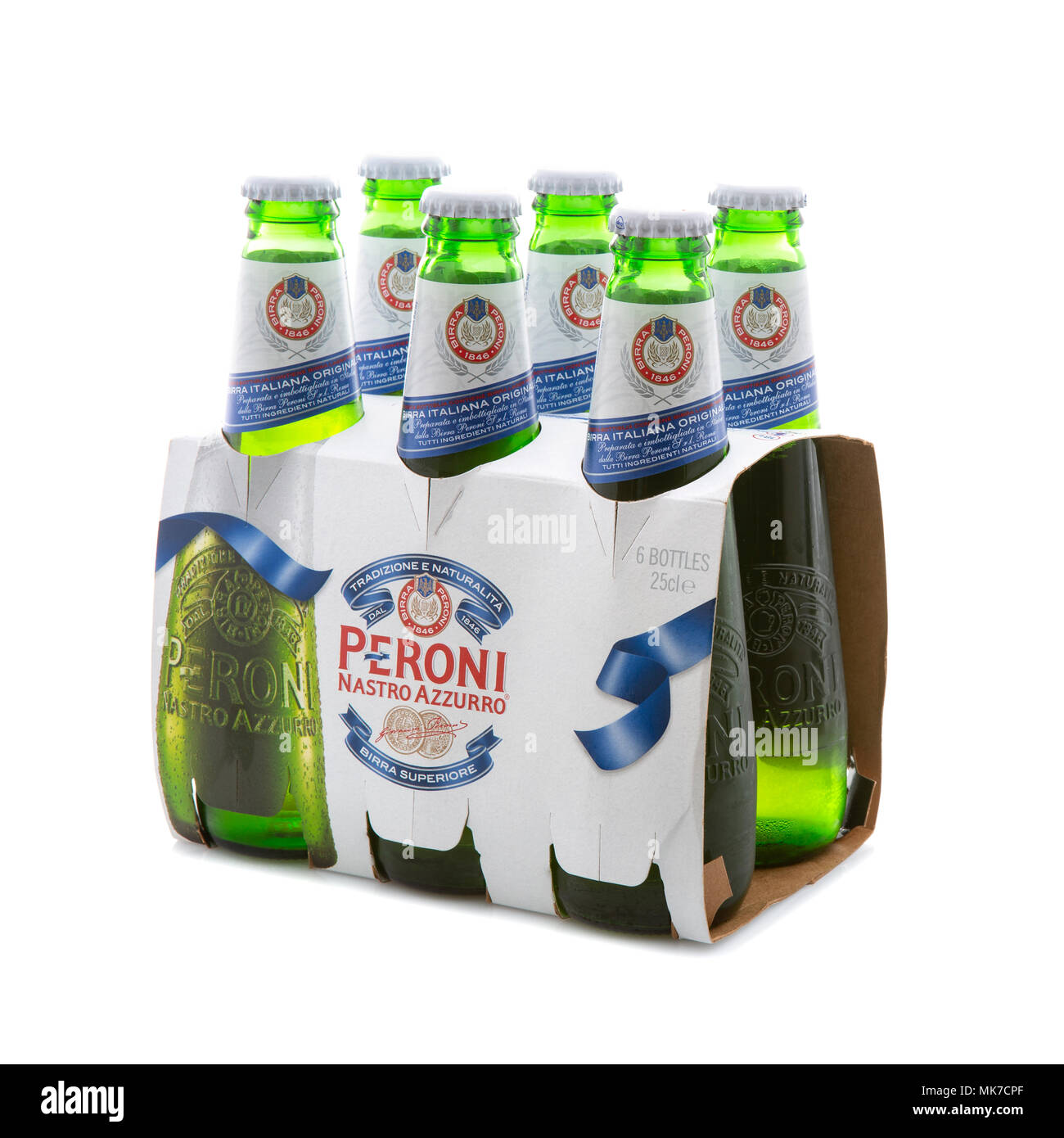 SWINDON, UK - MAY 7th, 2017: 6 Pack of Peroni Beer, Peroni Brewery (Birra Peroni), is a brewing company, founded in Italy and owned by SAB Miller - Stock Image