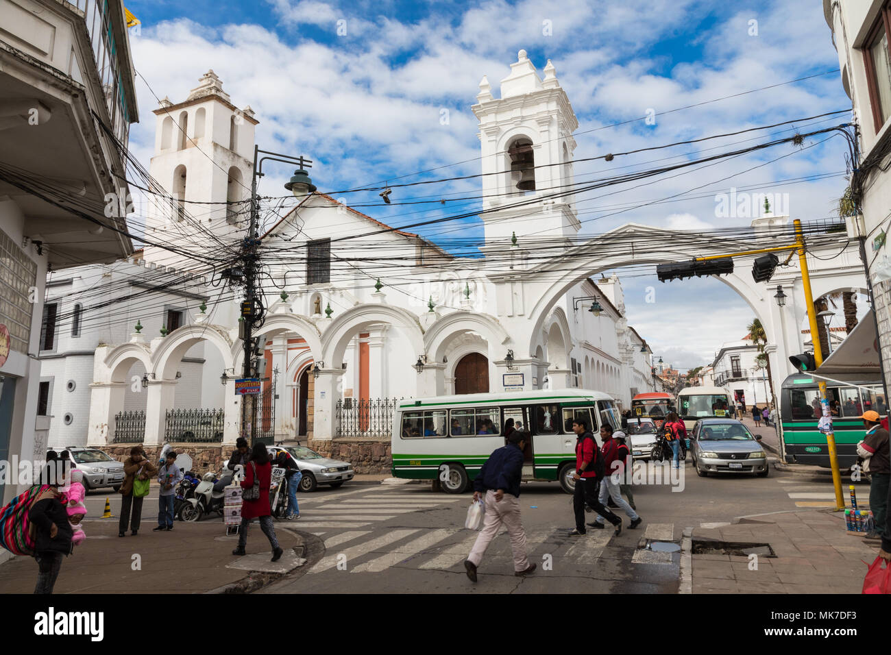 Sucre Boliwia February 08 2018 San Francisco Church In Sucre Bolivia Sucre Is The Constitutional Capital Of Bolivia Traditional Colonial Archi Stock Photo Alamy