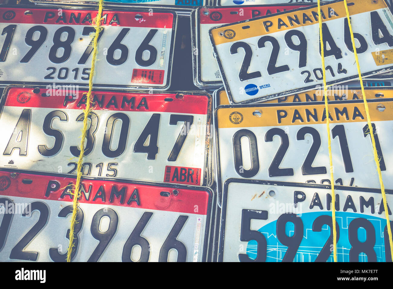 Panama vehicle registration plates Stock Photo: 183947004 - Alamy