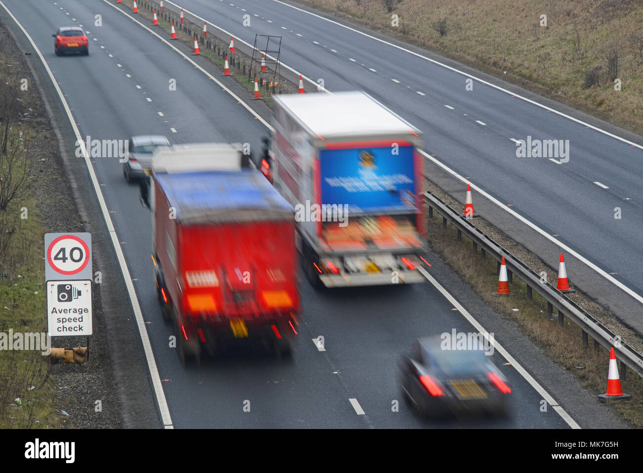 traffic passing average speed cameras at roadworks leeds yorkshire united kingdom - Stock Image