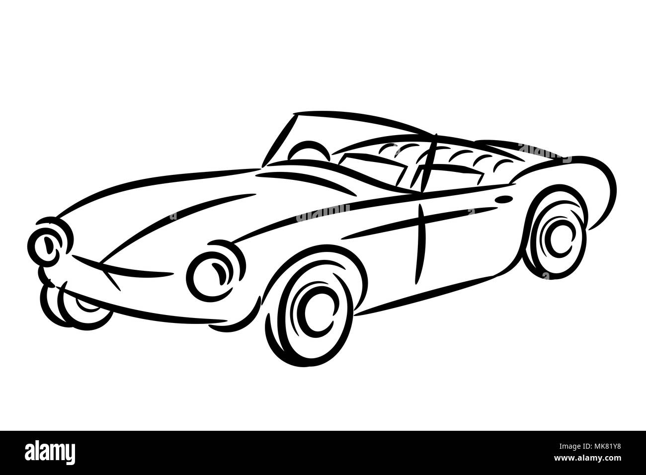 Vintage retro car stylized isolated - Stock Image