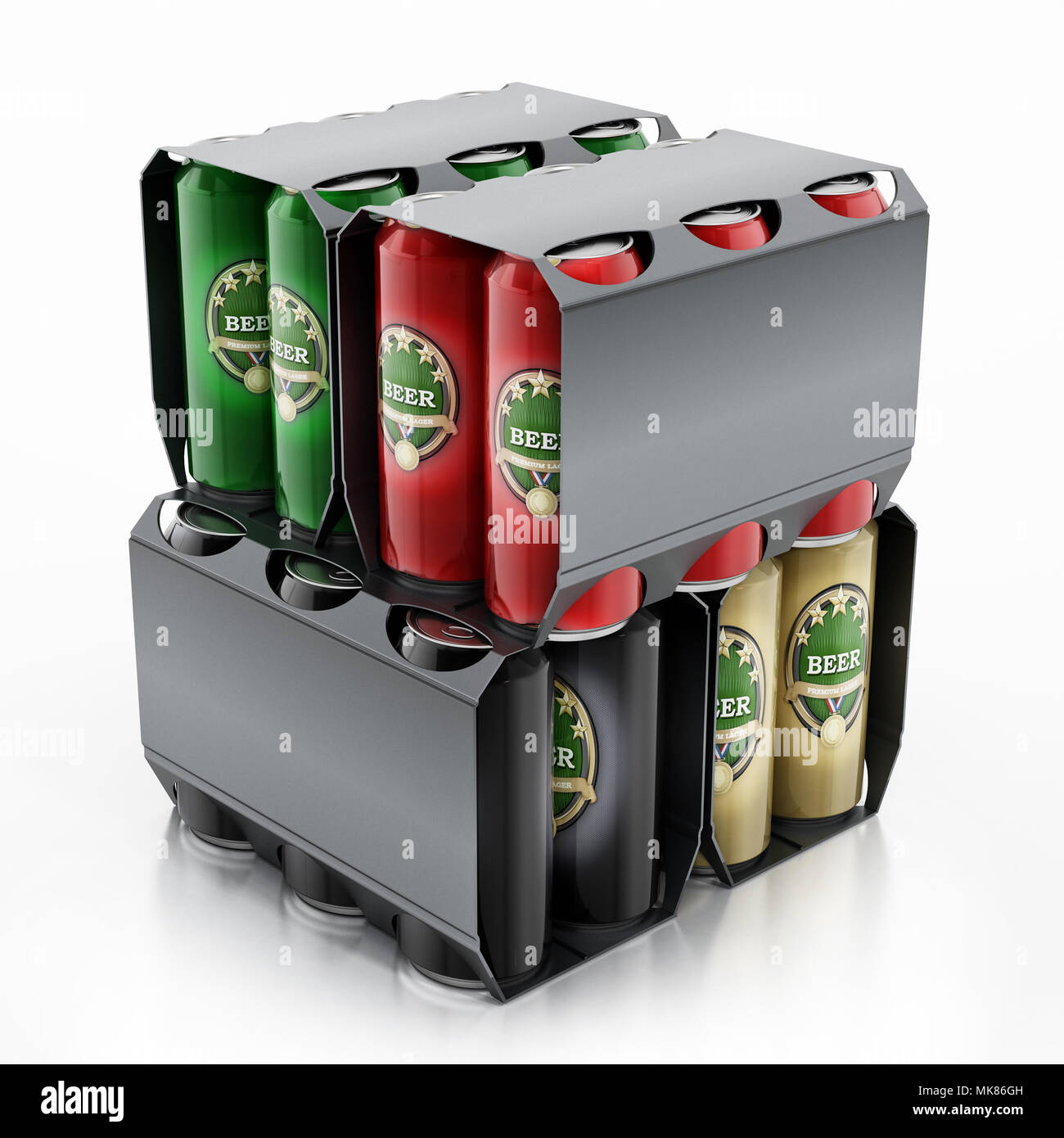 Metal beer cans in a 6 pack package. 3D illustration. Stock Photo