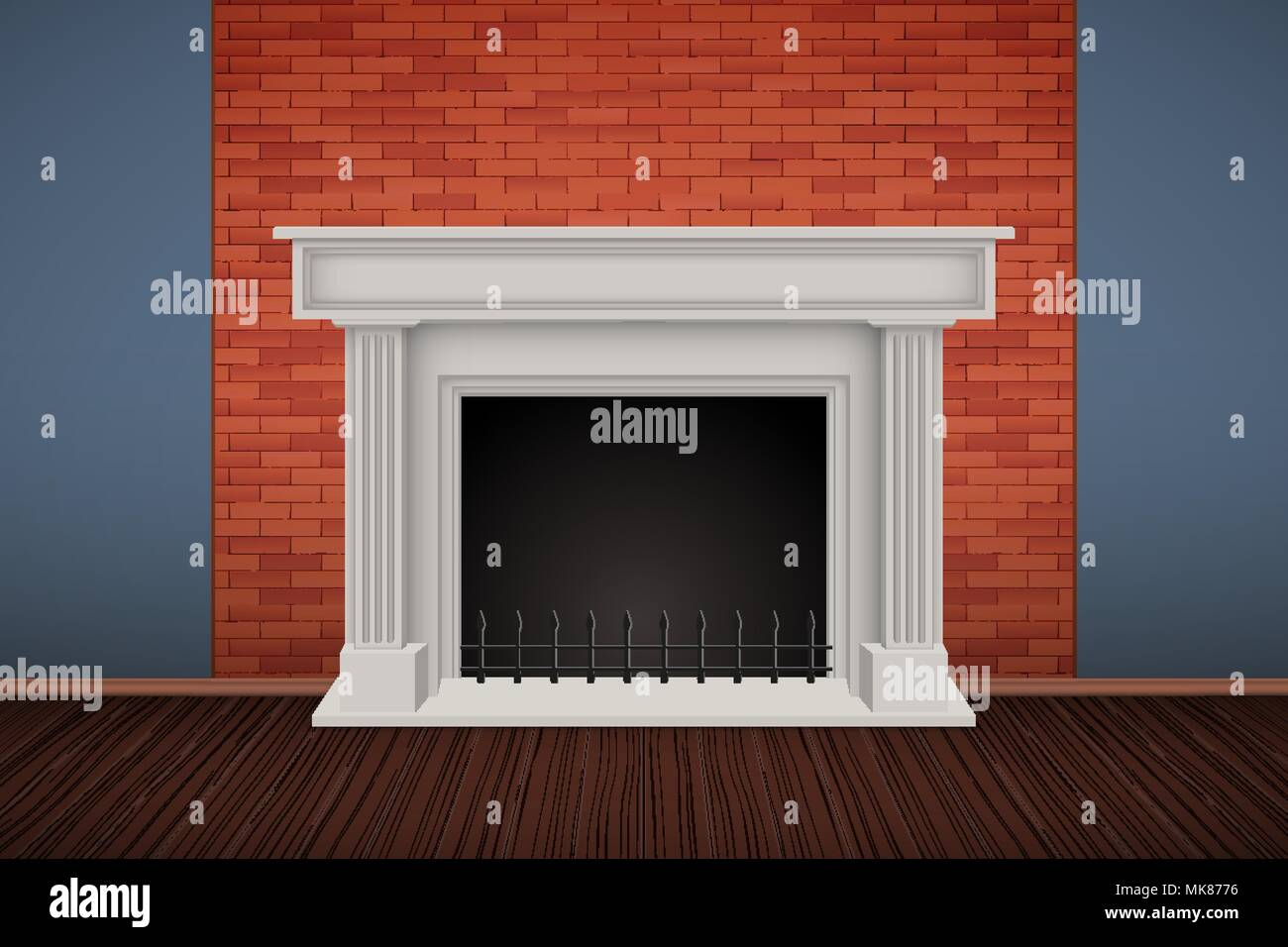 Interior Of Red Brick Wall With Fireplace And Wooden Floor Vintage
