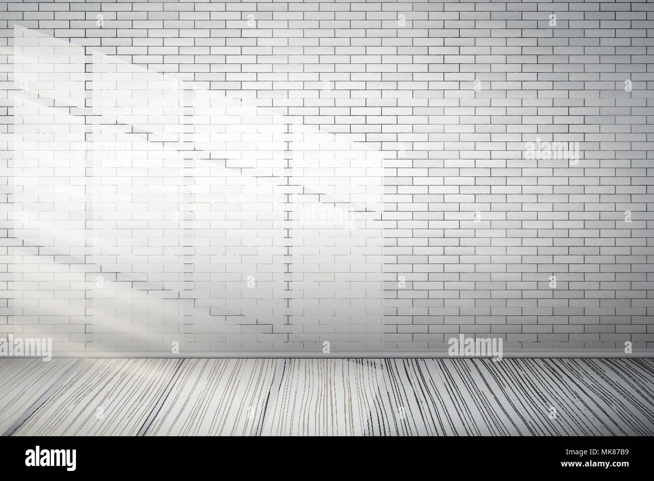 Interior Of White Brick Wall And Wooden Floor With Sunlight. Vintage Rural  Room And Fashion Interior. Grunge Industrial Texture. Background Of Loft. V