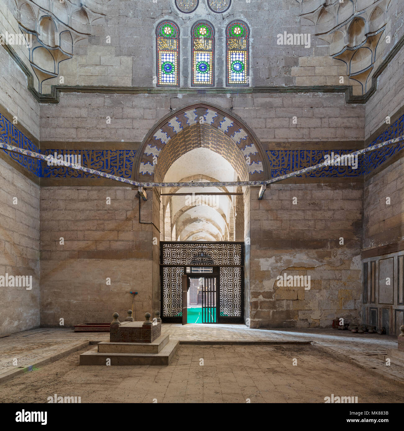 Interior shot of Mausoleum of Sultan Al Zaher Barquq wife and daughters at the complex of Al Nasr Farag Ibn Barquq complex located at the city of the  - Stock Image