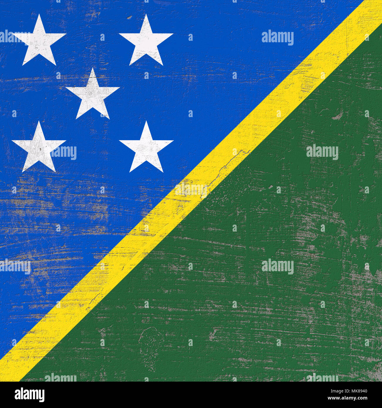 3d rendering of Solomon Islands flag in a scratched surface - Stock Image