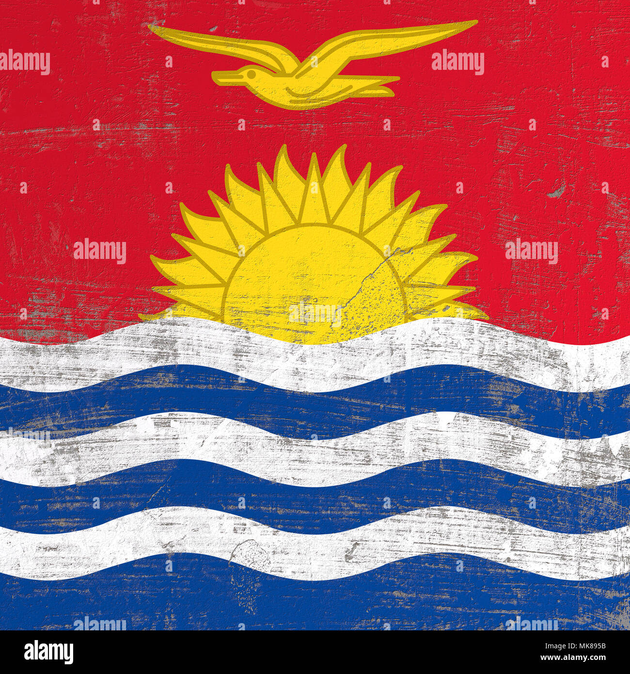 3d rendering of Kiribati flag in a scratched surface - Stock Image