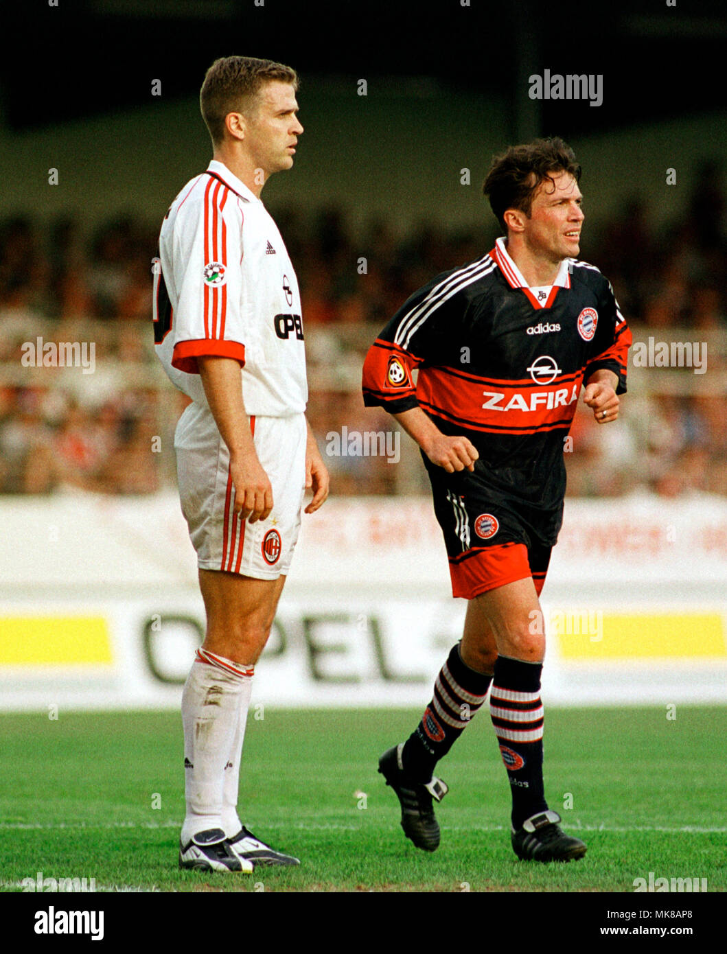 Football: Stadion am Bruchweg Mainz Germany 31.5.1999, international friendly match FC Bayern München (Munchen, Muenchen) vs AC Milan (Milano) --- Oliver BIERHOFF (Milan, left), Lothar Matthäus (Matthaus, Matthaeus) Stock Photo