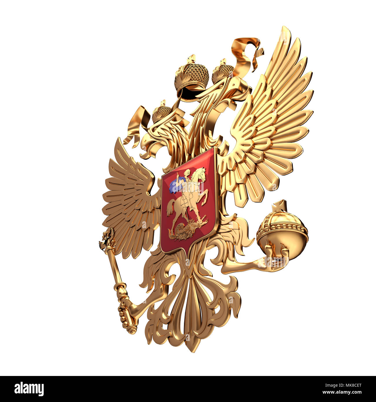 Coat Of Arms Of Russia With Two Headed Eagle Golden Symbol Of