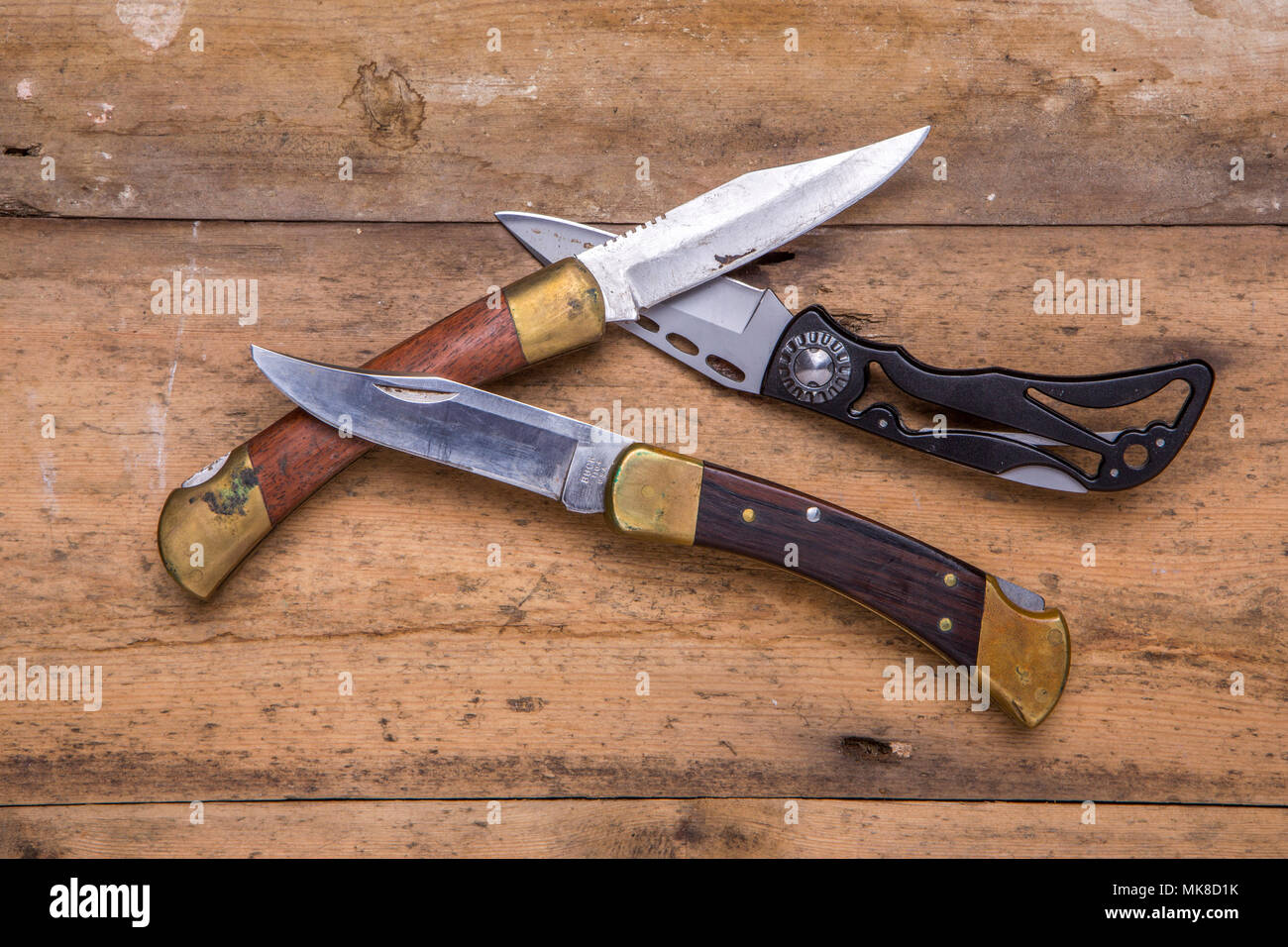 A collection of pocket knives - Stock Image