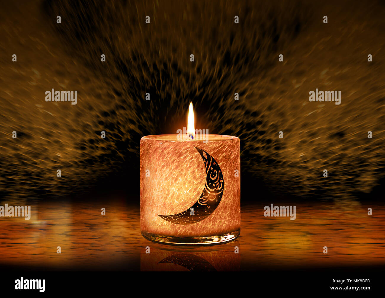 Glowing Candle For Celebration Occasions Ramadan Greeting Card