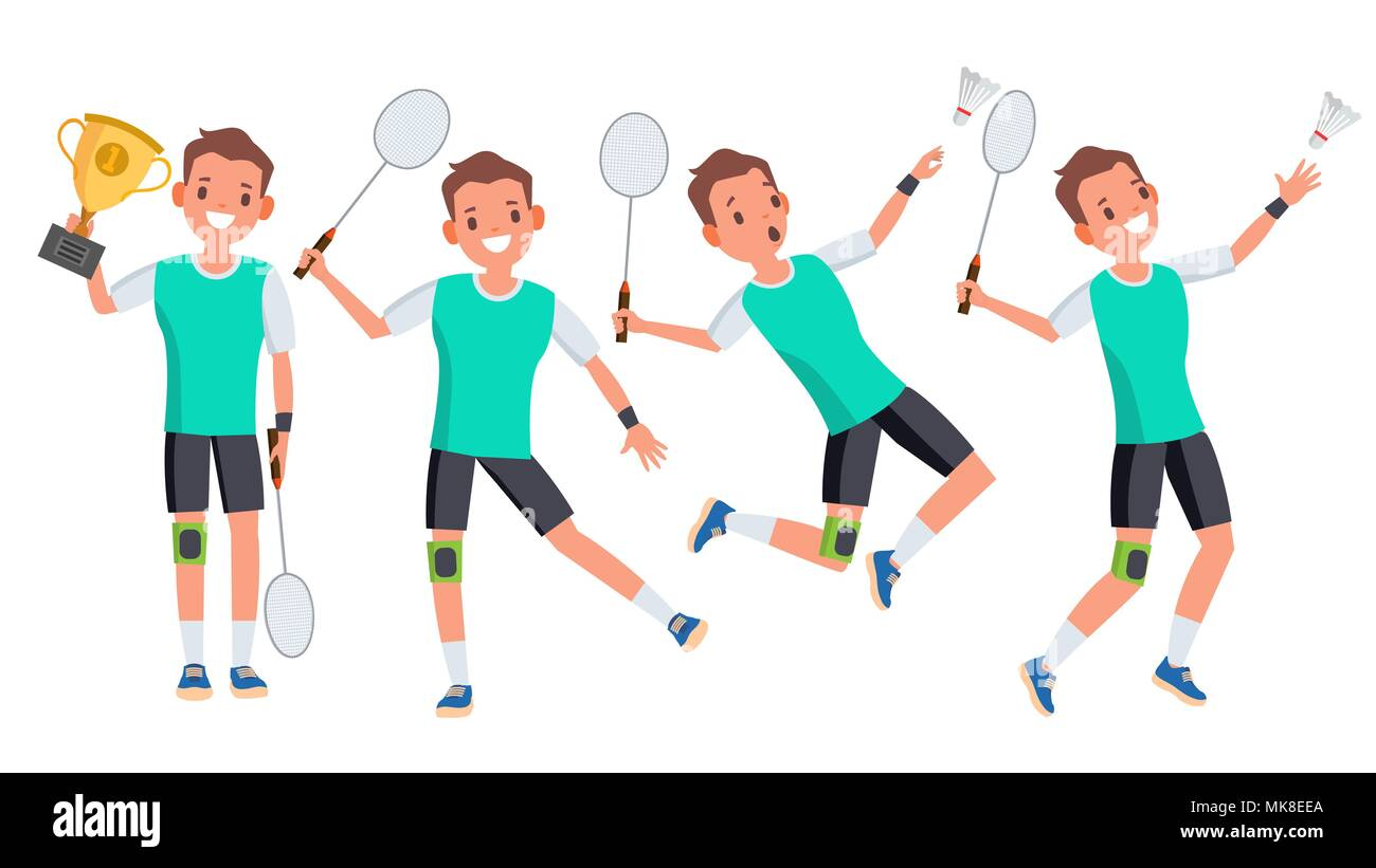 Badminton Male Player Vector. Playing In Different Poses. Man Athlete. Isolated On White Cartoon Character Illustration - Stock Vector